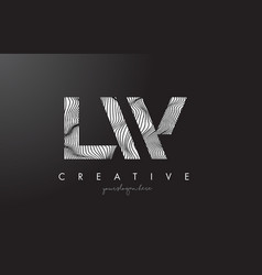 Lw l w letter logo with zebra lines texture vector
