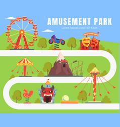map amusement park summer landscape vector image