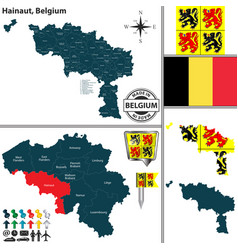 map of hainaut belgium vector image