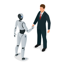 Men and robot greet or confirm a deal handshake vector