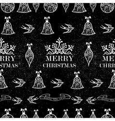 Merry Christmas bird ribbon seamless pattern vector image