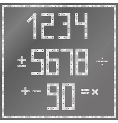 metal latin alphabet vector image