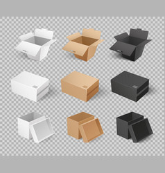 Mockups cardboards delivery packs realistic design vector