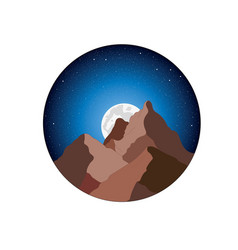 mountains the moon and the starry sky vector image
