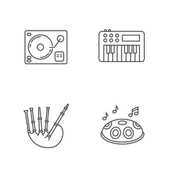 musical instruments pixel perfect linear icons set vector image
