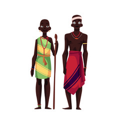 native black aboriginal man and woman from african vector image