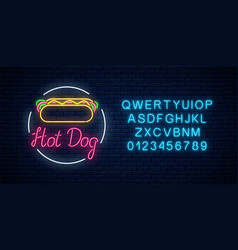 neon hot dog cafe glowing signboard with alphabet vector image