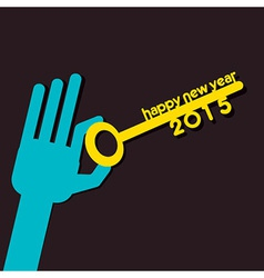 New year 2015 key hold in hand vector