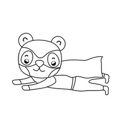 Outline panda flying with costume mask and cape vector