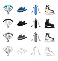 parachute extreme sports water scooter equipment vector image