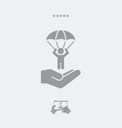 Parachuting concept - minimal icon vector