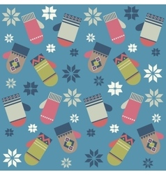 Pattern with colorful mittens vector