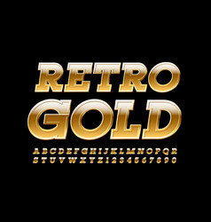 retro gold alphabet letters and numbers vector image