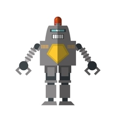 Robot with warning alert support shadow vector