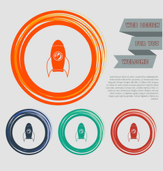 rocket icon on red blue green orange buttons vector image