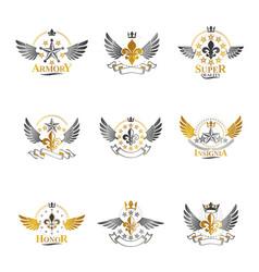 Royal crowns and ancient stars emblems set vector