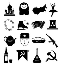 Russian culture icons set vector image