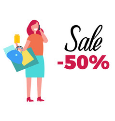 sale -50 happy woman and bags vector image vector image