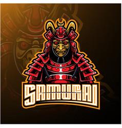 samurai warrior mascot logo design vector image