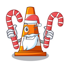 Santa with candy on traffic cone against mascot vector