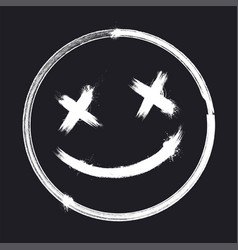 Scary grunge smile face halloween sticker vector