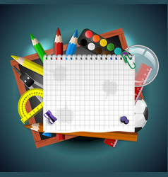 School supplies art and empty white paper on blue vector
