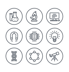Science research line icons on white vector