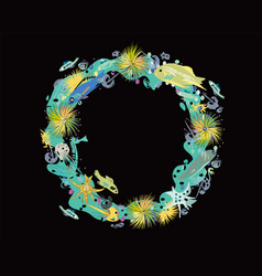 sealife wreath on black vector image