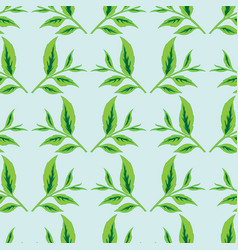 seamless background with tea leaves vector image