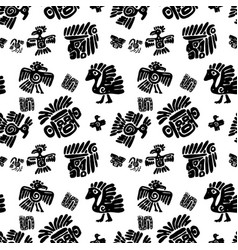 seamless maya pattern black and white ethnic vector image