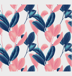 seamless pattern hand drawn blue and pink leaves vector image
