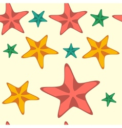 Seamless pattern with cartoon starfishes vector image