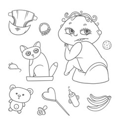 set child sitting on pot and kitten in cat vector image