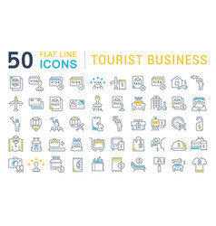 Set line icons tourist business vector