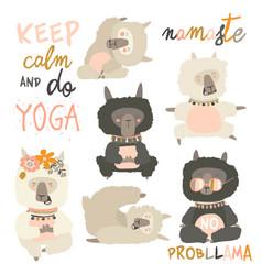 set of cute llama alpaca in yoga asana postures vector image