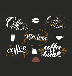 Set of hand drawn lettering coffee with stains vector