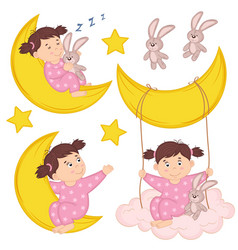 Set of isolated girl on moon vector