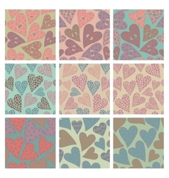 Set of seamless pattern with hearts vector image