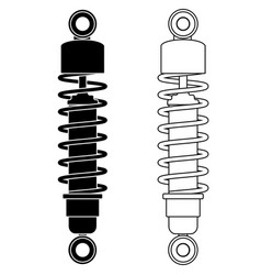 Shock absorber black and white outline icons vector