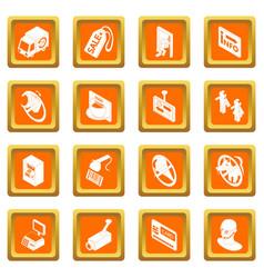Shop navigation foods icons set orange square vector