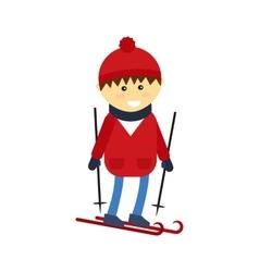 Skiing boy vector