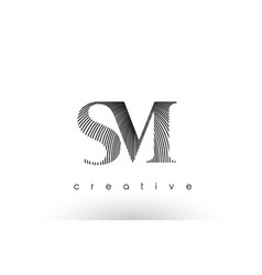 Sm logo design with multiple lines and black and vector