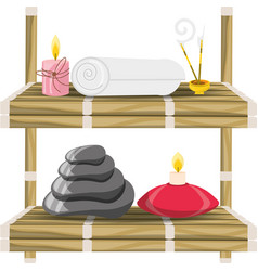 spa wood shelf with healthy treatment products vector image