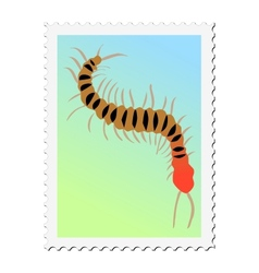 Stamp with image of centipede vector