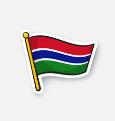 Sticker flag gambia vector