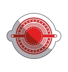Sticker red circular art deco emblem with stars vector