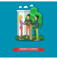 Street coffee concept in flat vector image