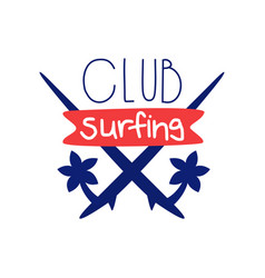 Surfing club logo template windsurfing retro vector