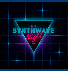 synthwave retrowave triangle with blue and pink vector image
