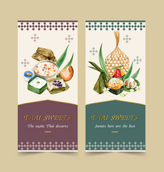 Thai sweet flyer design with pudding steamed vector